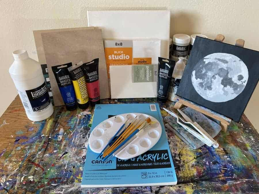 An array of acrylic painting supplies to get started with acrylic painting.