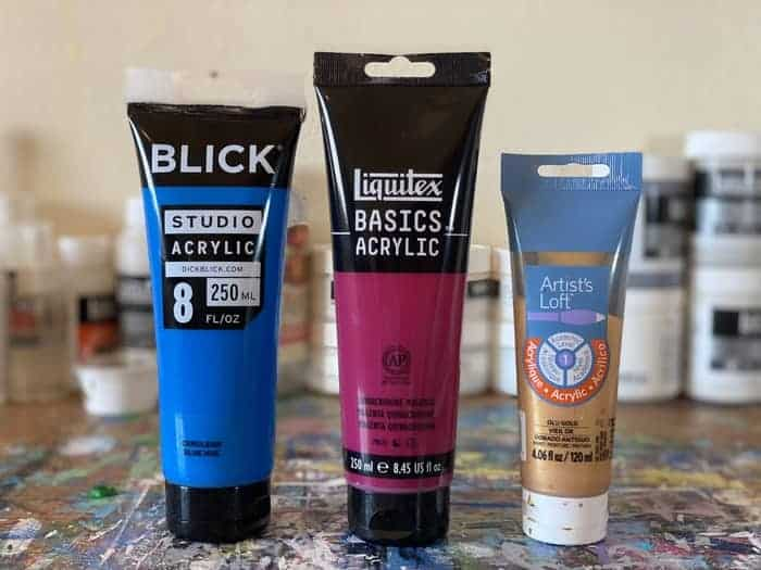 Beginner acrylic paints commonly used. From the left to right we have Blick, then Liquitex, and then the Artist's Loft brands.