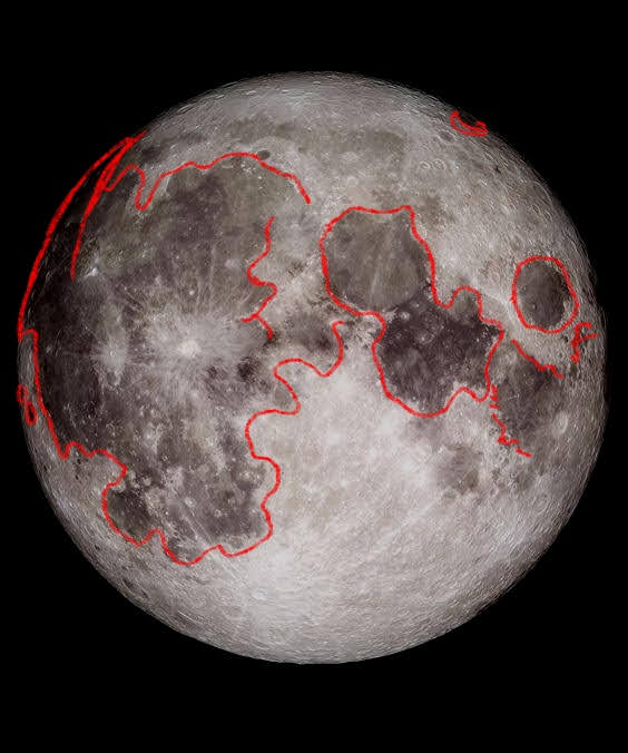 A picture of the moon with the darkest patches on the moon outlined in red.