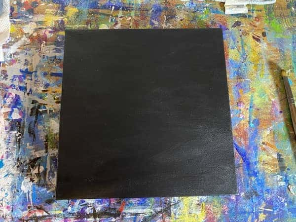 A canvas painted black